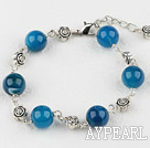 10mm blue agate bracelet with extendable chain