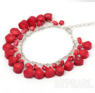 fashion red coral bracelet with metal chain and lobster clasp