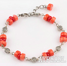 red anc orange coral bracelet with extendable chain