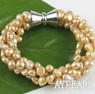Wholesale multi strand champagne color pearl bracelet with magnetic clasp