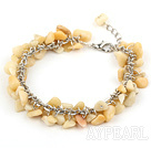 Wholesale 6-8mm yellow jade chips bracelet with extendable chain
