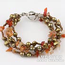 multi strand natural agate and brown pearl bracelet with toggle clasp