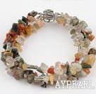 Wholesale 6-8mm three strand multi color rutilated quartz bracelet
