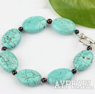 Wholesale 7 inches garnet and turquoise bracelet with toggle clasp