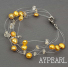Wholesale yellow pearl crystal braclet with lobster clasp