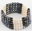 multi strand white and black fresh water pearl magnetic bracelet