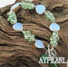 beautiful colored glaze and opal bracelet with toggle clasp