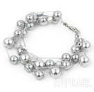 Wholesale Multi Strands Round Gray Seashell Bracelet with Lobster Clasp