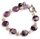 Wholesale white pearl and rainbow fluorite bracelet with toggle clasp