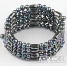 Wholesale 4-5mm black pearl magnetic multi strand bracelet
