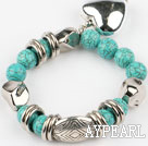 Wholesale 7.2 inches turquoise elastic bangle with heart shaped accessories