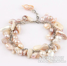 Wholesale irregular shape purple pearl bracelet with extendable chain