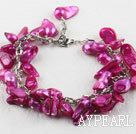 Wholesale irregular shape dyed purple red pearl bracelet with extendable chain