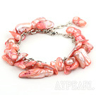 irregular shape dyed red pearl bracelet with extendable chain