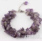 Wholesale 6mm natural amethyst bracelet with extendable chain