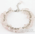 Wholesale 6mm natural rose quartze bracelet with extendable chain