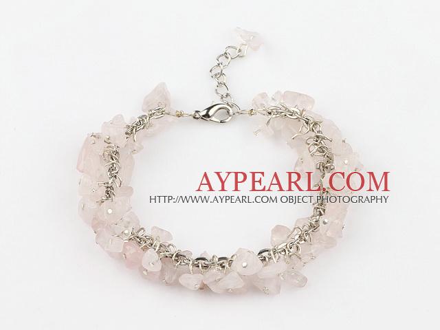 6mm natural rose quartze bracelet with extendable chain