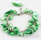 Wholesale irregular shape dyed green pearl bracelet with extendable chain