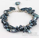 irregular shape dyed black pearl bracelet with extendable chain
