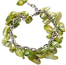 Wholesale irregular shape dyed grass green pearl bracelet with extendable chain