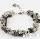Wholesale black rutilated quartz chips bracelet with extendable chain