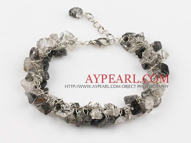 black rutilated quartz chips bracelet with extendable chain