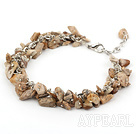Wholesale picture jasper chips bracelet with extendable chain