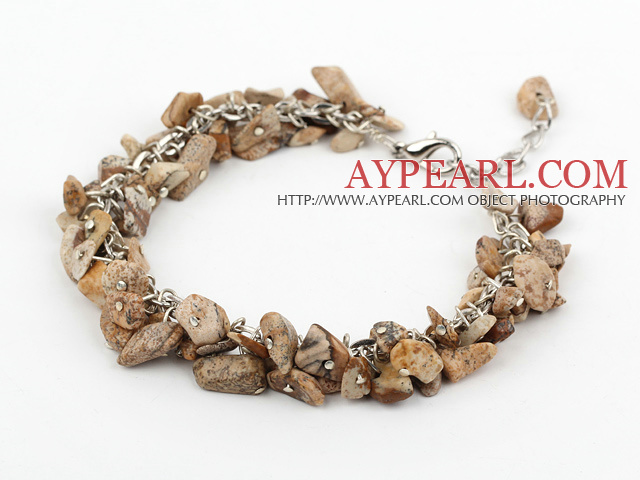 picture jasper chips bracelet with extendable chain