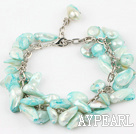 irregular shape dyed sky blue pearl bracelet with extendable chain