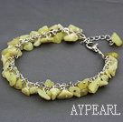 Wholesale lemon stone chips bracelet with extendable chain