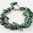 irregular shape dyed dark green pearl bracelet with extendable chain