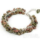 Discount 6mm natural green aventurine chips bracelet with extendable chain