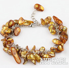 irregular shape dyed gold pearl bracelet with extendable chain