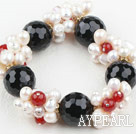 Assorted hvit Freshwater Pearl og Big Black Agate Stretch Bracelet