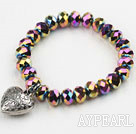 Multi Color Plated Crystal Elastic Bangle Bracelet