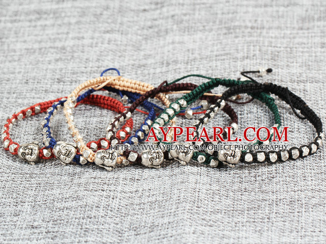 6 Pcs Popular Multi Color Alloyed Buddha Head Accessory Hand-Knitted Bracelet (Random Color)