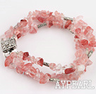 Wholesale Popular 3 Strands Cherry Quartz Chips Wrap Bangle Bracelet