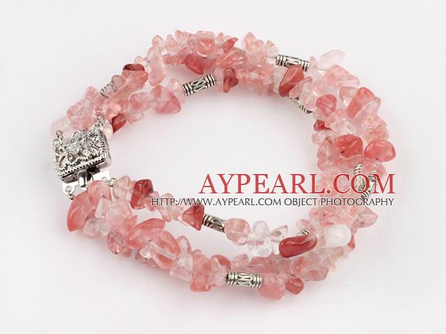Popular 3 Strands Cherry Quartz Chips Wrap Bangle Bracelet