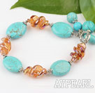 Wholesale turquoise and colored glaze bracelet with toggle clasp