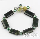 green pearl olive and black agate stone bracelet with toggle clasp