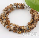 Wholesale Nice 3 Strands Brown Pictuer Jasper Chips Wrap Bangle Bracelet