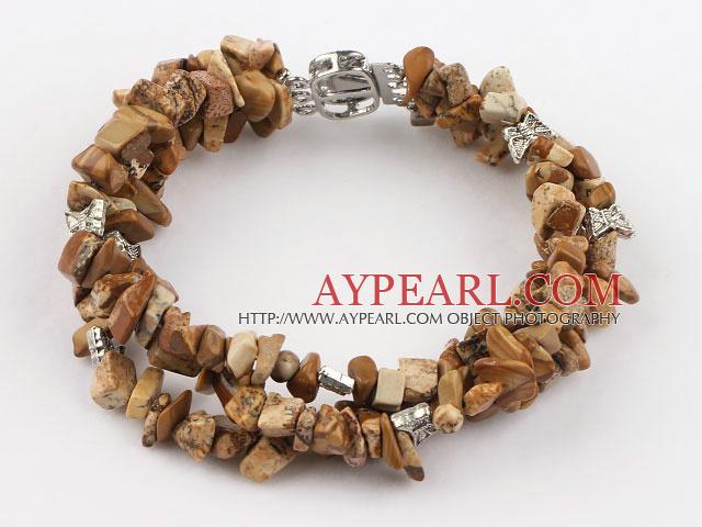 Nice 3 Strands Brown Pictuer Jasper Chips Wrap Bangle Bracelet