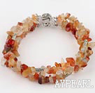 7 inches 6-8mm 3 strand agate bracelet