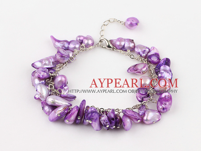 irregular shape dyed purple pearl bracelet with extendable chain