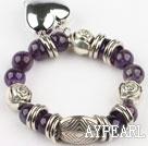 natural 12mm round amethyst bracelet with heart charm