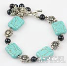 Wholesale black pearl and turquoise bracelet with toggle clasp