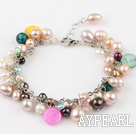 multi color pearl shell bracelet with extendable chain