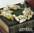 Wholesale irregular shape dyed light yellow pearl bracelet with extendable chain