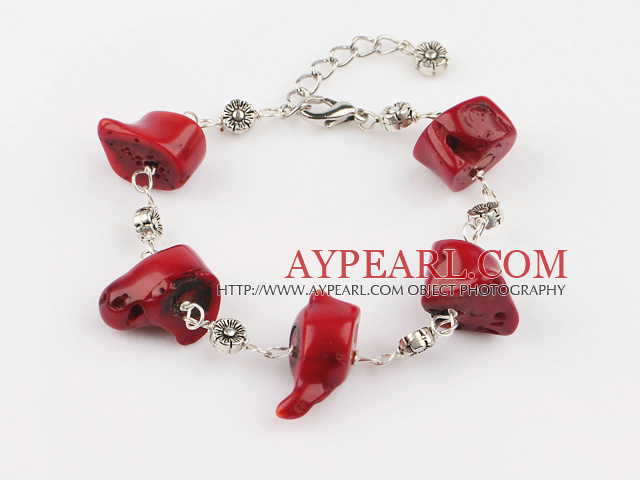 Fashion Multi Red Coral Loop Charm Bracelet With Extendable Chain