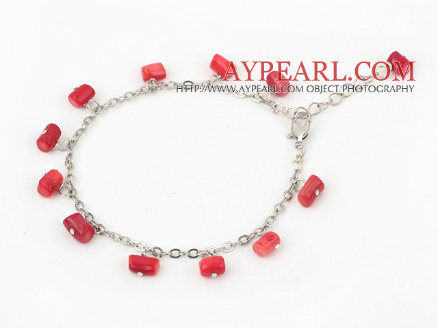 Wonderful Loop Style Multi Red Coral Bracelet With Extendable Chain